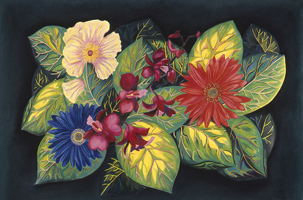 "FLOWERS FOR FLORINE  color pencil, pastel, paper, 17 x 24""  1980"